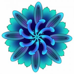 genital mandala in various shades of blue - Obscene Ideas logo